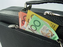 Business bag and money. Black Business bag and money isolated in white royalty free stock image