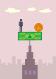 Business Balance 2. A man and coin balancing on a banknote,  which are in turn balancing on top of a building. A metaphor on financial balance Royalty Free Stock Photos