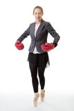 Business ballerina with boxing gloves Stock Photography