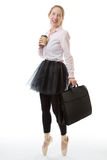Business ballerina with briefcase and cup Stock Images
