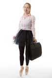 Business ballerina with briefcase Stock Photography