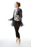 Business ballerina with calculator Stock Photo