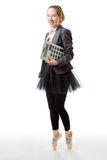 Business ballerina with calculator Royalty Free Stock Image