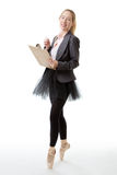 Business ballerina with clipboard Royalty Free Stock Photos