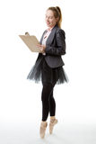 Business ballerina with clipboard Stock Photography