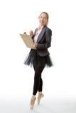 Business ballerina with clipboard Stock Photos