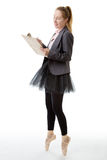 Business ballerina with clipboard Royalty Free Stock Photo