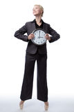 Business ballerina with clock Royalty Free Stock Image