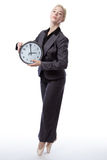 Business ballerina with clock Royalty Free Stock Photography