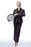Business ballerina with clock Royalty Free Stock Images