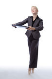 Business ballerina with folder Stock Image