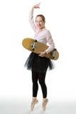 Business ballerina with skateboard Stock Photography