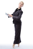 Business ballerina with tablet computer Stock Image