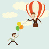 Business with balloons with rival enemy popping with needle. Stock Photos