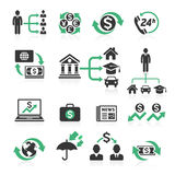Business banking concept icons set. Vector illustrations Royalty Free Stock Images