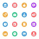 Business and Banking flat gray icons set of 16. On white background Royalty Free Illustration