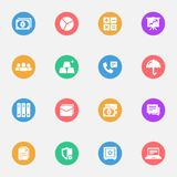Business and Banking flat white icons set 16. Pieces with colored circles on a white background Stock Illustration