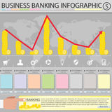 Business Banking infographic. Chart in grey background Royalty Free Stock Photos