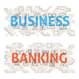Business Banking Line Art Concept. Vector Illustration of Thin Outline Money and Finance Banner for Website and Web Stock Image