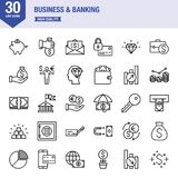 Business And Banking Line Icon Set. Universal line icons about business Stock Photos