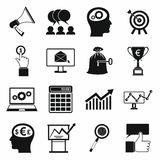 Business, banking and office icons set. In simple style on a white background Royalty Free Stock Image