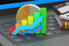 Business, banking and statistic concept on the laptops keyboard, Stock Photos