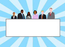 Business Banner Frame. Team of businessmen and businesswomen, with a large frame customizable Stock Image