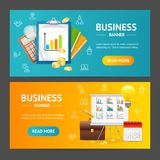 Business Banner Horizontal Set. Vector. Business Banner Realistic Detailed 3d Horizontal Set Include of Book, Document and Calculator. Vector illustration of Royalty Free Stock Photo