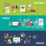 Business banner set. Business flat banner set with investment strategy proceeds charts isolated vector illustration Stock Photo