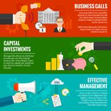 Business Banner Set. Business horizontal banner set with hands and investment management elements isolated vector illustration Royalty Free Stock Images