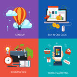 Business banners, start-up, buy in one click Stock Photo