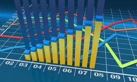 Business bar chart. Bar chart with linear graph Royalty Free Stock Photography