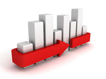 Business bar chart diagram on white. 3d render illustration Royalty Free Stock Image