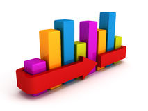 Business bar chart diagram on white. 3d render illustration Royalty Free Stock Photo