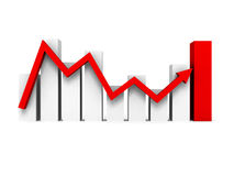 Business bar chart graph with rising red arrow. 3d render illustration Royalty Free Stock Photos