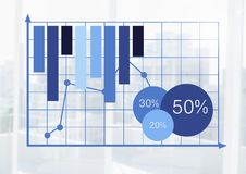 Business bar charts statistics with bright background on grid Stock Photography