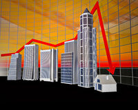 Business Bar Graph. The stylized business histogram of financial crisis Royalty Free Stock Photos