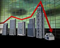 Business Bar Graph. The stylized business histogram of financial crisis Stock Photo