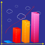 Business bar graph in the clouds. Abstract art illustration Stock Image