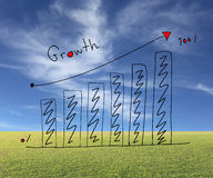 Business bar graph create in the hand drawn design and grow arro Stock Photography