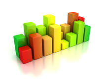 Business bar graph diagram red green Royalty Free Stock Image