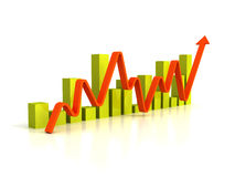 Business bar graph diagram with rising arrow Royalty Free Stock Photography