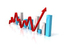 Business bar graph diagram with rising arrow Stock Photo