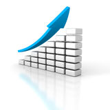 Business Bar Graph Diagram With Rising Arrow Stock Images