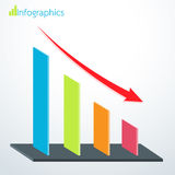 Business bar graph down. Vector illustration Stock Photos