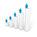 Business bar graph with rising up succes arrows. Financial achivement concept 3d render illustration Royalty Free Stock Photos