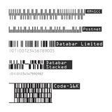 Business barcodes and QR codes vector set. RM4SCC, , Postnet, Databar Limited, Stacked, Code 16K. Black striped code for digital royalty free illustration