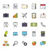 Business Basic Filled Line Icon Vector Set 1. Collection of 25 business and office related filled line icons Stock Images
