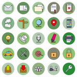 Business Basic Round Icon Vector Set 2. Collection of 25 business and office related filled line icons in circles Stock Photography