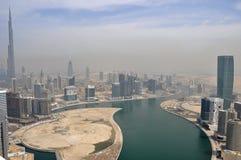 Business Bay Area in Dubai. With Burj Khalifa , United Arab Emirates Royalty Free Stock Photography